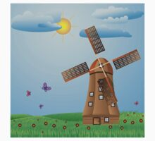 Windmill on meadow Kids Clothes