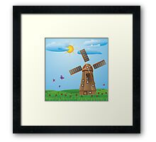 Windmill on meadow Framed Print