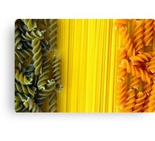 Raw Pasta Spaghetti and Fusilli Canvas Print