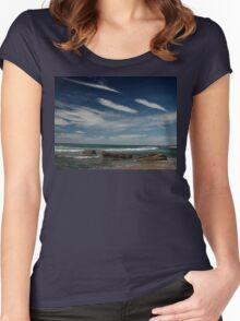 3 by 3: Sky by Sea, Werrong Beach Women's Fitted Scoop T-Shirt