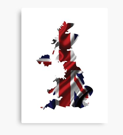 UK United Kingdom Flag Map Canvas Print