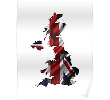 UK United Kingdom Flag Map Poster