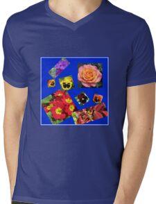 Crazy Summer Flowers Collage Mens V-Neck T-Shirt