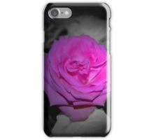 Pink Flower Black & White Background iPhone Case/Skin