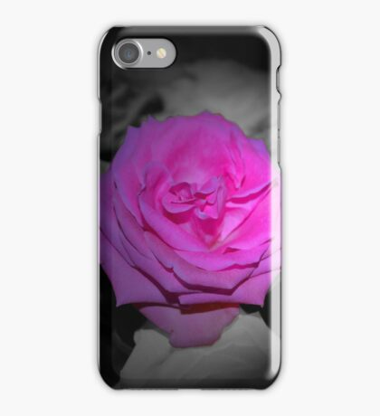 Pink Flower Black & White Background iPhone Case/Skin