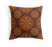 Ornamental pattern in natural wood tones. Throw Pillow