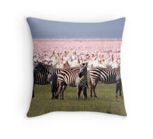 Lake Nakuru Flamingos, Kenya Throw Pillow