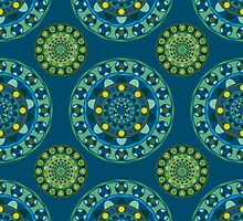 Ornamental pattern in blue and green tones by Deanora