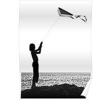 The little girl with the kite Poster