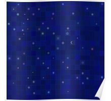 Midnight Moon and Stars Abstract Poster