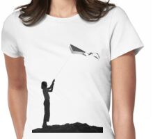 The little girl with the kite Womens Fitted T-Shirt