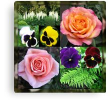 Roses and Pansies Collage Canvas Print