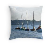 Little boats all in a row Throw Pillow
