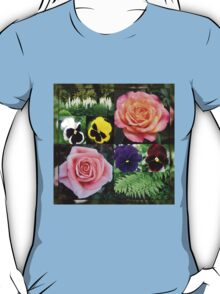 Roses and Pansies Collage T-Shirt