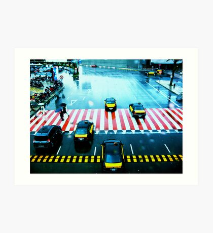 Cabs & the Candy striped crosswalk Art Print