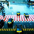 Cabs & the Candy striped crosswalk by Mario  Scattoloni