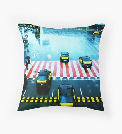 Cabs & the Candy striped crosswalk Throw Pillow