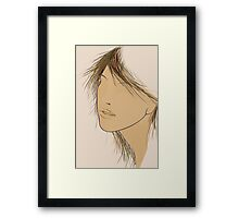 Illustration Girl's Face Framed Print