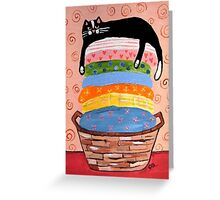 Black Cat on Laundry Basket Greeting Card