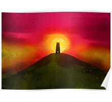 GLASTONBURY TOR SUNSET Poster