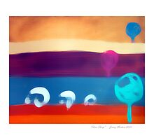 Three Sheep with border by jenny meehan