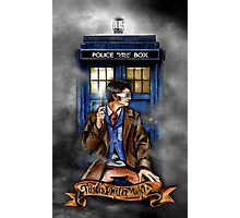 Mysterious Time traveller with blue Phone box Photographic Print