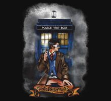 Mysterious Time traveller with blue Phone box Kids Clothes