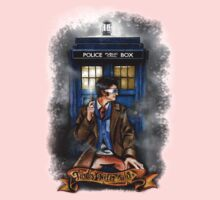 Mysterious Time traveller with blue Phone box Kids Tee