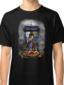 Mysterious Time traveller with blue Phone box Classic T-Shirt