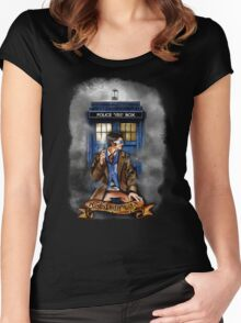 Mysterious Time traveller with blue Phone box Women's Fitted Scoop T-Shirt