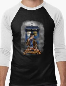Mysterious Time traveller with blue Phone box Men's Baseball ¾ T-Shirt