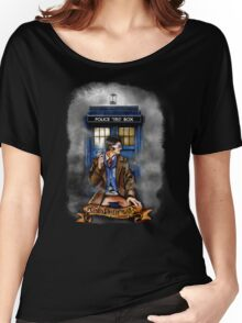 Mysterious Time traveller with blue Phone box Women's Relaxed Fit T-Shirt