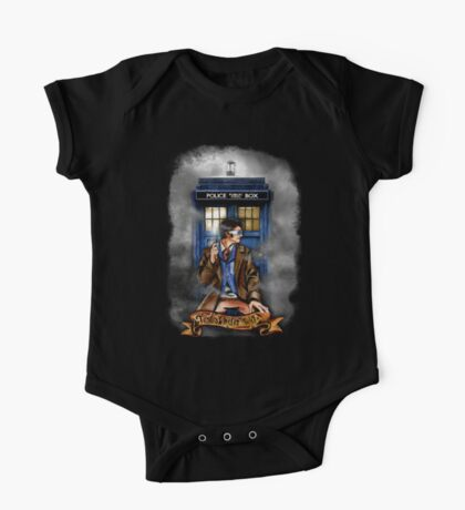 Mysterious Time traveller with blue Phone box One Piece - Short Sleeve