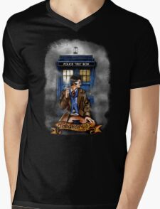 Mysterious Time traveller with blue Phone box Mens V-Neck T-Shirt
