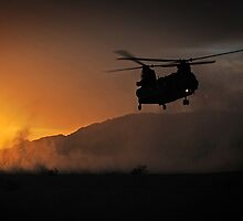 Chinook Helicopter lifting off as the sun sets - Military Art / Army / Air Force  by verypeculiar