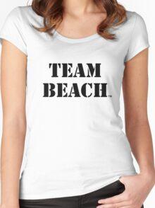 TEAM BEACH Basic Tees, Tanks, & Hoodies (Black Text) Women's Fitted Scoop T-Shirt