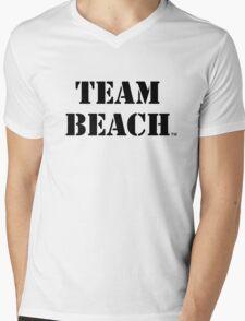 TEAM BEACH Basic Tees, Tanks, & Hoodies (Black Text) Mens V-Neck T-Shirt
