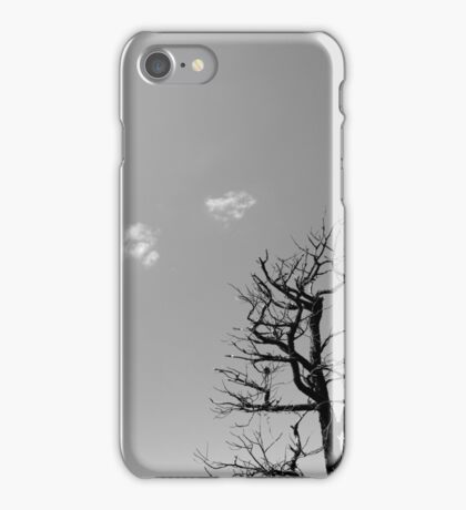 Dead Tree and Two Clouds BW iPhone Case/Skin
