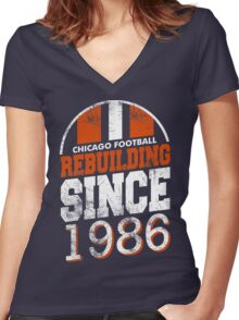 Chicago Football Rebuilding Women's Fitted V-Neck T-Shirt