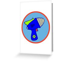 Astro Blaster Shooting Badge Greeting Card