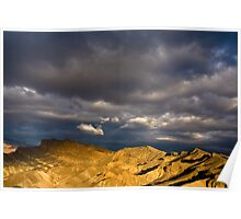 Dramatic Clouds at Sunrise in Death Valley Poster