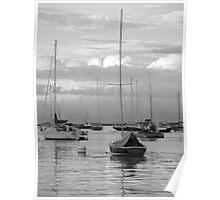 Harbor Sailboats and Fishing Boats Poster