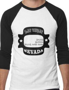 Las Vegas Nevada. Drink Gamble Drink Men's Baseball ¾ T-Shirt