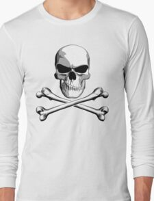 Skull with Meh Attitude Long Sleeve T-Shirt