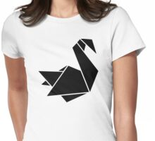 Origami swan Womens Fitted T-Shirt