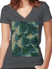 Leaves drawing  Women's Fitted V-Neck T-Shirt