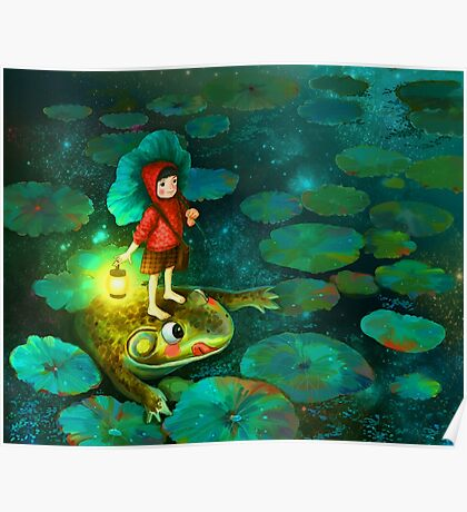 The little girl in the pond with frog Poster