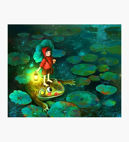 The little girl in the pond with frog Photographic Print