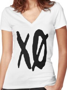 XO Slash [Black] Women's Fitted V-Neck T-Shirt