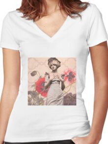 Une Femme Women's Fitted V-Neck T-Shirt